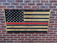 Red Lives Matter Engraved Wooden American Flag