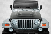 2004 Jeep Wrangler  Hood-1997-2006 Jeep Wrangler Carbon Creations DriTech Power Dome Hood - 1 Piece
