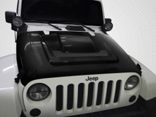 2012 Jeep Wrangler  Hood-2007-2018 Jeep Wrangler Carbon Creations DriTech Heat Reduction Hood - 1 Piece
