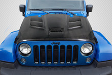 2012 Jeep Wrangler  Hood-2007-2016 Jeep Wrangler Carbon Creations Viper Look Hood - 1 Piece