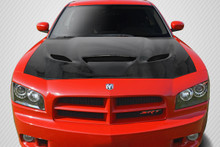 2006 Dodge Charger  Hood-2006-2010 Dodge Charger Carbon Creations DriTech Hellcat Look Hood - 1 Piece