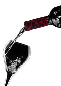 Wine Collars by Qyze | Designer Wine Accessories | Red Leopard Drip Ring