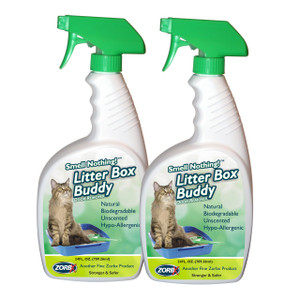 Eliminate cat urine odors instantly with ZORBX unscented 24 oz. Litter Box Buddy value pack