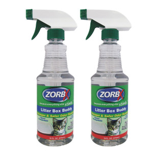 Eliminate cat urine odors instantly with ZORBX 16 oz. Litter Box Buddy value pack