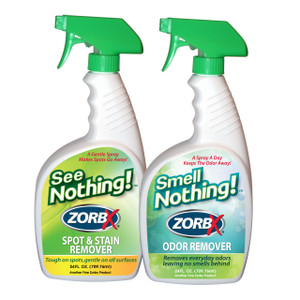 Eliminate stains and odors with ZORBX 24 oz. See Nothing and Smell Nothing value pack