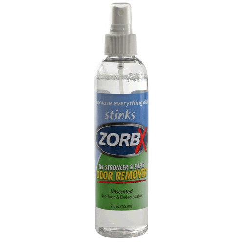 Eliminate odors, cigarette smell, gasoline odors, odors from mildew, and food odors with ZORBX safe and non-toxic 7.5 oz. Unscented Odor Remover