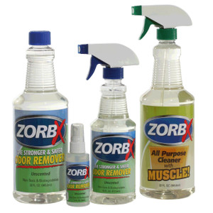 Eliminate odors and grease stains instantly with ZORBX unscented four piece value pack