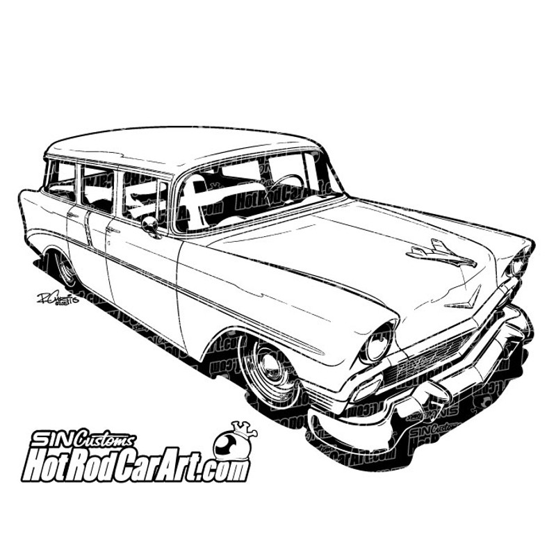 1956 chevrolet nomad hot rod car art for Station wagon coloring pages