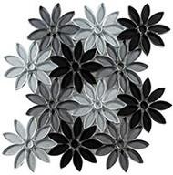 GT Glass Bouquette Floral Greys BQT-671