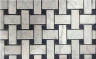 Milstone Collage Mediterranean Bianco Carrara 1 x 2 Honed Mosaic With Black Insert