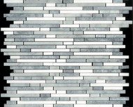 DBK Natural Stone Boutique 12 x 12 Interlock Mugwort Grey/Bianco Carrara/Thassos Bullet Blend Linear Mosaic GM.GRY/WHT.BULLET