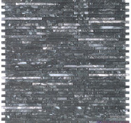 DBK Natural Stone Boutique 12 x 12 Interlock Trenton Black Super Slim Stick Mosaic GM.VS.TTB.SS.IRR.HN