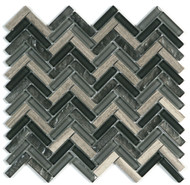 DBK MCI Mirage Glass Cristallo 11.5 x 11.5 Herringbone Blend Mosaic Charcoal/Grey