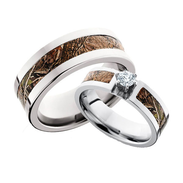 Camo Ring His and Hers Diamond Set