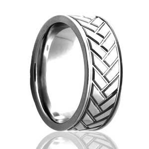 8mm flat ring with herringbone pattern