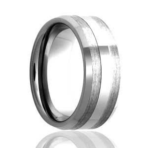8mm Flat Cobalt Stripe Ring in Satin Finish