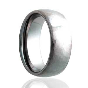 Domed Hammered Satin Finish Ring