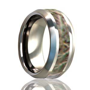 Beveled Mountain Camo Tungsten Ring