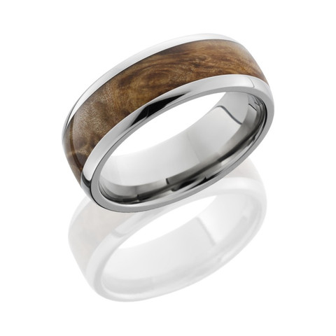 8mm Titanium Domed Band with 5mm Maple Burl Wood