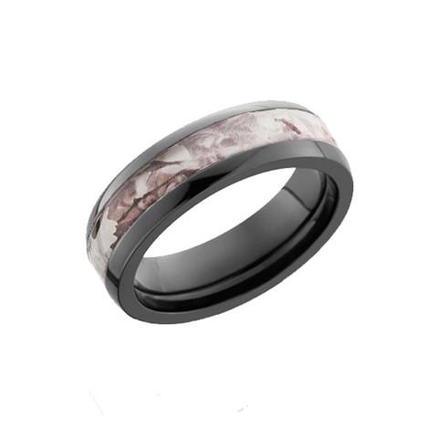 Ladies Black Zirconium ring with King's Snow Shadow Camo