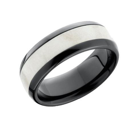 Antler Inlay Black Zirconium Ring