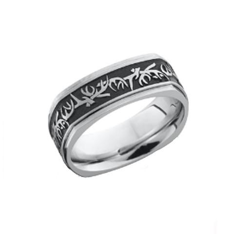 8mm Square Antler Ring