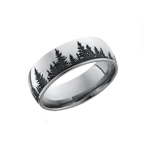 8mm Polished Cobalt Chrome Tree Scene Ring