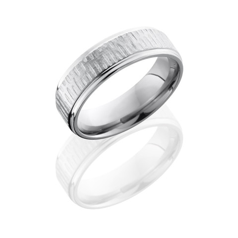 Disc Titanium Ring with Grooved Edges