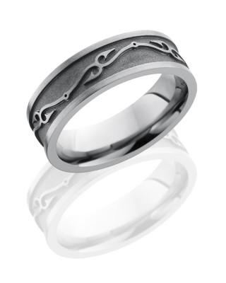 7mm Fish Hook Titanium Ring