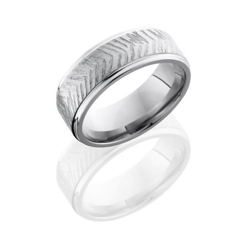 Grooved Edge Satin Polish Titanium Disc Ring