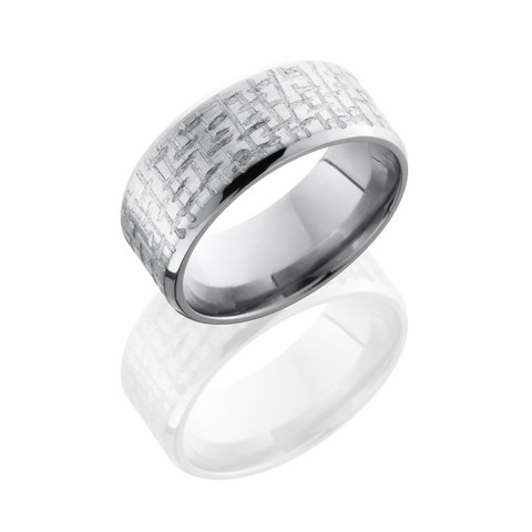 Titanium 9 mm Beveled Band with Criss Cross Pattern
