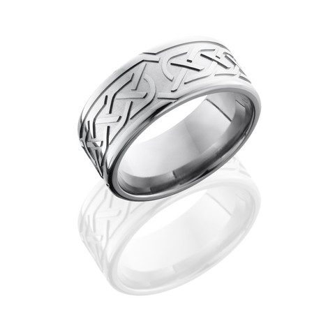 Titanium 9 mm Flat Band with Celtic Knot Pattern