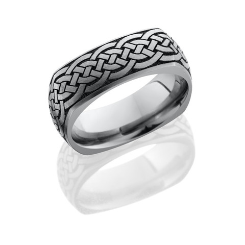 Titanium 8 mm domed square band with laser carved celtic pattern