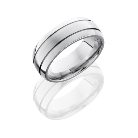 Cobalt Chrome 8 mm Domed Band with Two .5mm Grooves