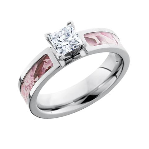 Pink Camo Princess Cut Diamond or CZ Engagement Ring
