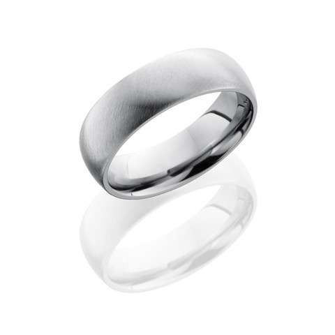 7 mm Classic Domed Titanium Ring with Angle Satin Finish