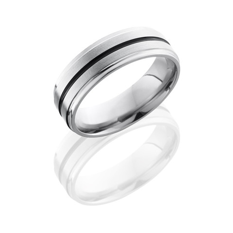 Titanium 7mm Flat Band with Grooved Edge and 1mm Antiqued Groove