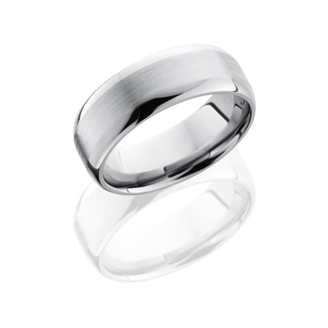 8mm Titanium Domed Band with Satin Flat Center and Polished Edges