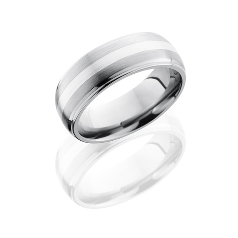 Titanium 8 mm Domed Band with Grooved Edges and 2 mm of Sterling Silver