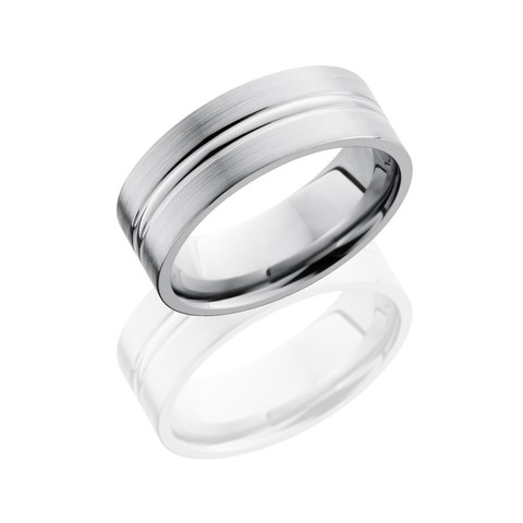 Titanium 8 mm Flat Band with Polished Domed Center and Satin Finish