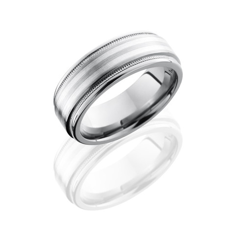 Titanium 8 mm Flat Band with Rounded Edges, Milgrain, and 2 mm Sterling Silver