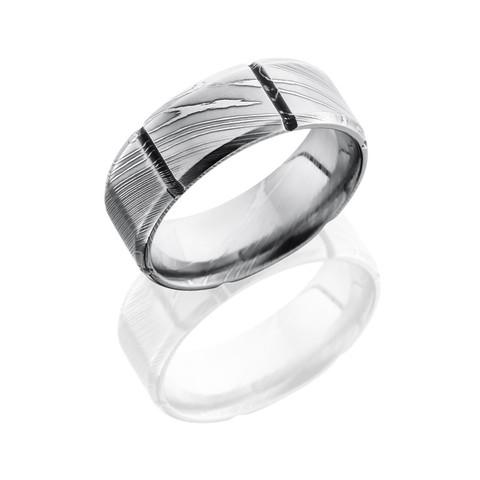 8 mm Segmented Pattern Polished Damascus Steel Ring
