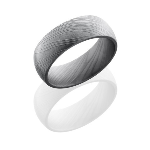 8 mm Damascus Steel Beadblasted Domed Band