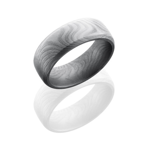 Flat Twist Patterned Damascus Steel 8mm Domed Band with Beveled Edges and Bead Finish