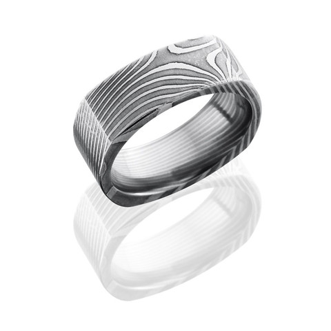 8mm Flat Twist Patterned Damascus Steel Square Band