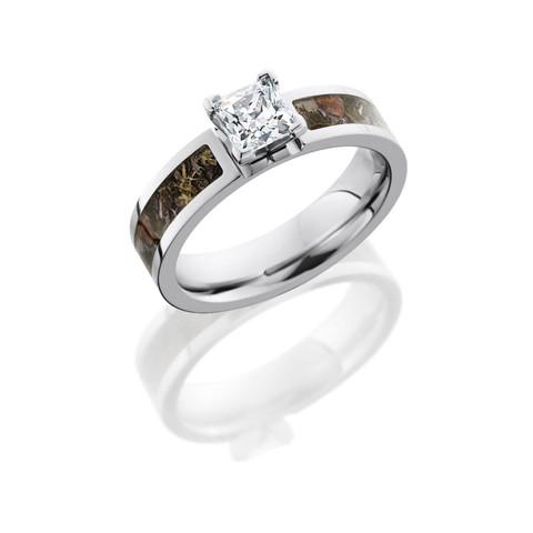 Cobalt Chrome Camo Ring with Princess Cut 0.75 CZ