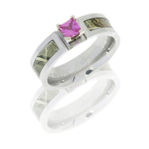 Cobalt Chrome 6mm Flat Band with 3mm Camo and 4mm Pink Sapphire