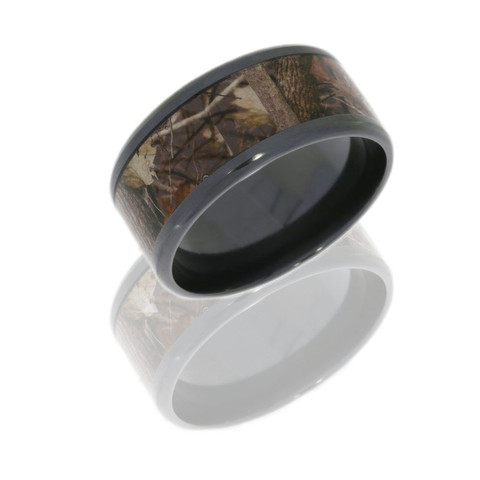 12mm Beveled Edge Flat Band with 8mm Camo inlay