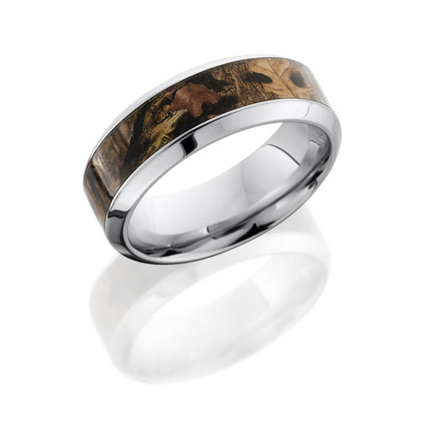 8mm Cobalt Chrome Band with Beveled Edges and 5mm Camo