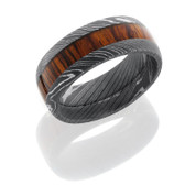 Damascus Steel 9mm Domed Band with 4mm Mexican Cocobollo Wood inlay